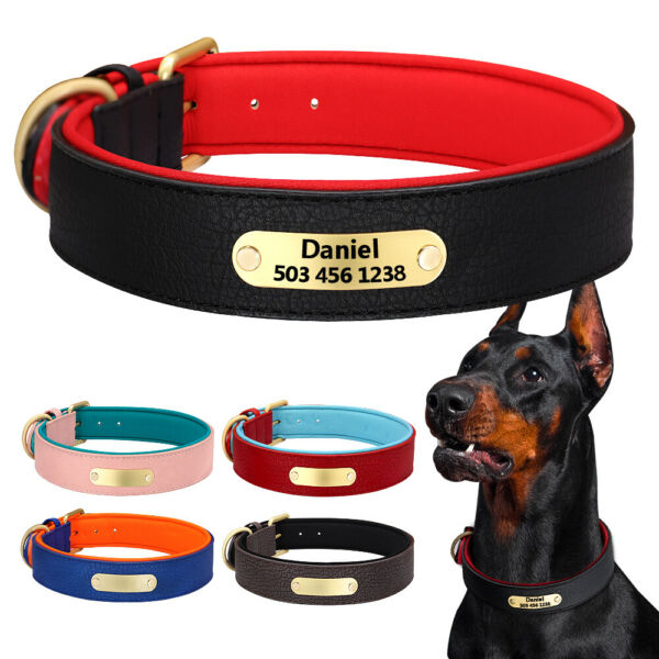 Personalized Soft Dog Leather Collars Neoprene Padded Name ID Tag Engraved S 2XL $17.49