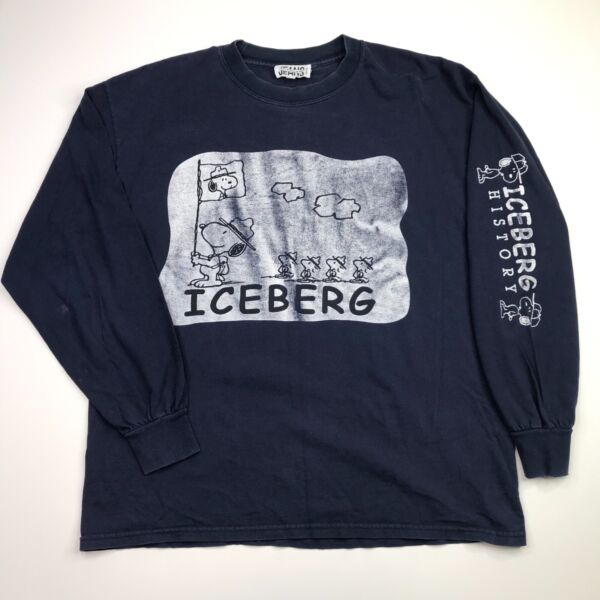 Vtg Iceberg Jeans History Men's Blue Long Sleeve T Shirt Peanuts XL $58.39
