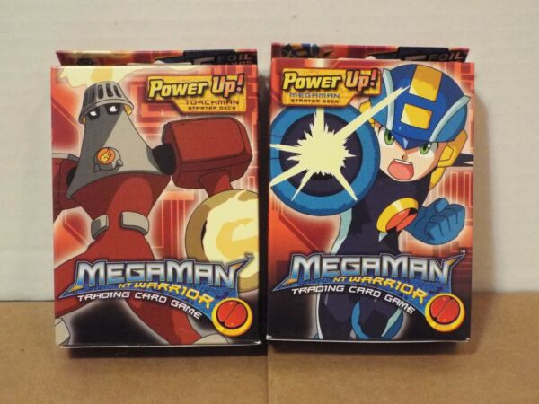 MegaMan NT Warrior Power Up Starter Decks Mega Man and Torch Man NEW