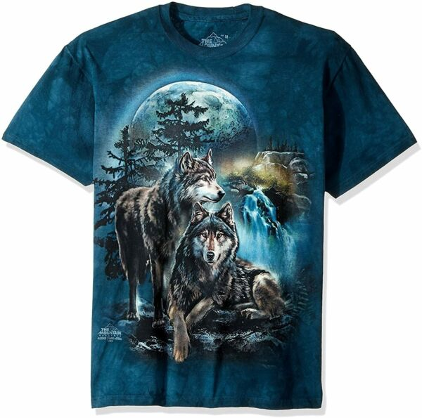 Wolf Lookout Wolves Waterfall Moon Pack Dogs Animal Blue Mountain T Shirt S 5X $27.96