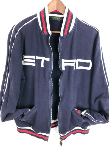 VTG Retro 90s ETRO Italy Logo Blue Stripes Mens Zip Up Sweater Sz XL fits M L $59.00