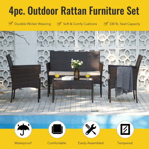 Wicker 4pc Outdoor Furniture Set with 2 Chairs Sofa Glasstop Table Walnut Beige $200.90