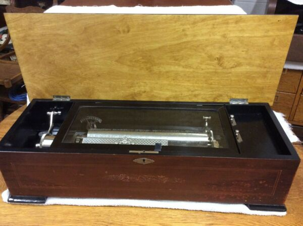 ANTIQUE DAWKINS CYLINDER MUSIC BOX 2 COMBS amp; 2 WINDING SPRINGS