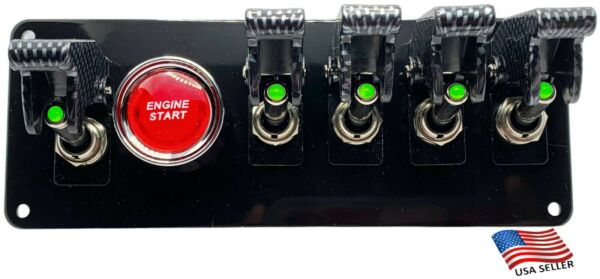 Black Powder Coated Panel w 5 GREEN LED Switches Carbon Covers RED Push Start