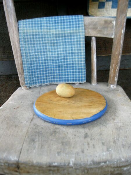 Small Antique Round Wood Bread Cutting Board Federal Blue Milk Paint