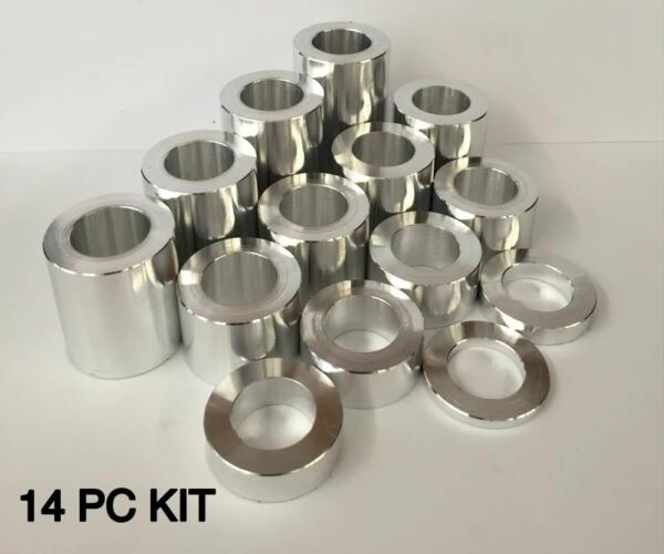 WHEEL AXLE SPACER KIT I.D. 3 4quot; O.D. 1 1 4quot; 14 SPACERS HARLEY ALUMINUM 6061 $33.95