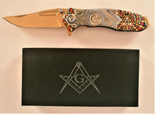 8quot; Masonic Vintage Spring Assisted Pocket Knife Square and Compasses Freemason $15.50