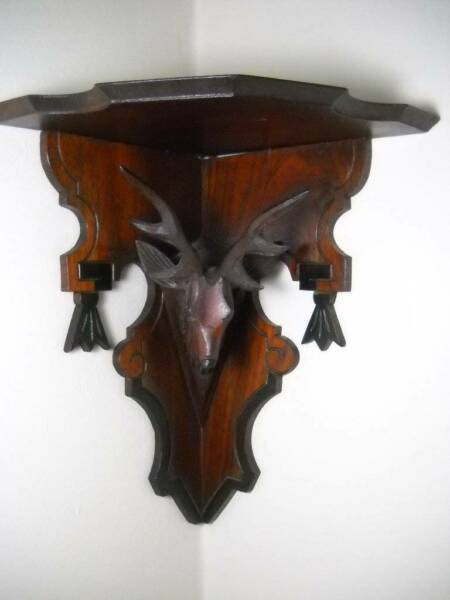 Vintage Black Forest Stag Corner Shelf Hand Carved 12quot; Great Detail Excellent