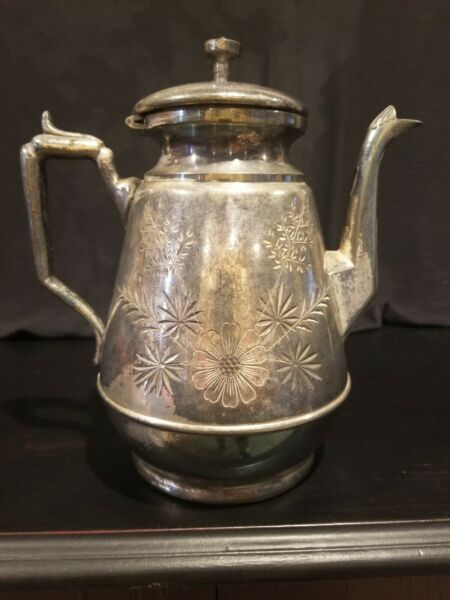 Rear Vintage Rogers Bros Triple Plated Coffee Tea Pot 9quot; Tall $20.00