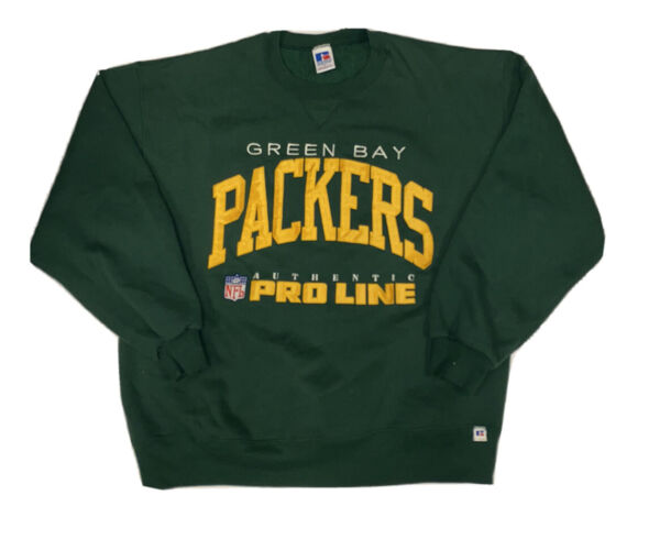 Vtg Russell Proline Green Bay Packers Green Men's Sweater Size Large USA