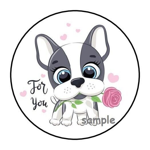 30 CUTE FOR YOU PUPPY WITH FLOWER ENVELOPE SEALS LABELS STICKERS 1.5quot; ROUND $1.95