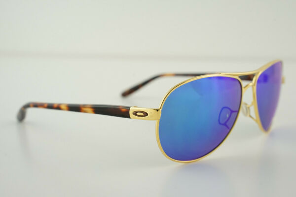 Oakley FEEDBACK Tortoise Gold Sapphire Iridium Polarized OO4079 17 AVIATOR Blue $58.00