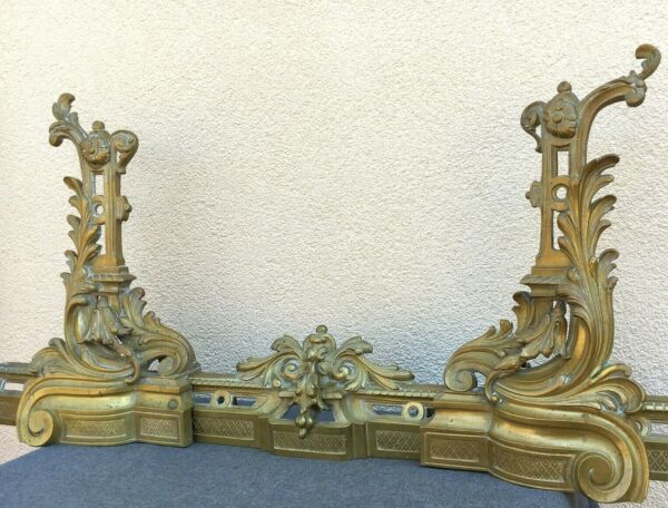 Large antique french fireplace set andirons crossbar bronze 19th century LouisXV
