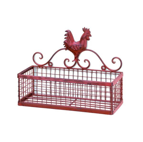 COUNTRY KITCHEN DECOR RED ROOSTER SINGLE WALL RACK $30.98