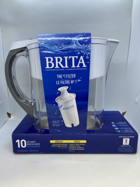 Brita Everyday Water Filter Pitcher w 1 Long Last Filter 10 Cup White