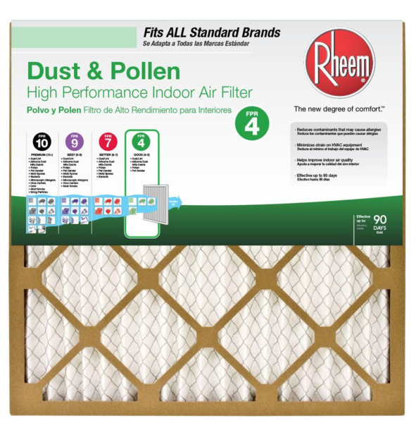 Set of 2 RHEEM 16 x 20 Basic Household Pleated Air Filters NEW $4.00