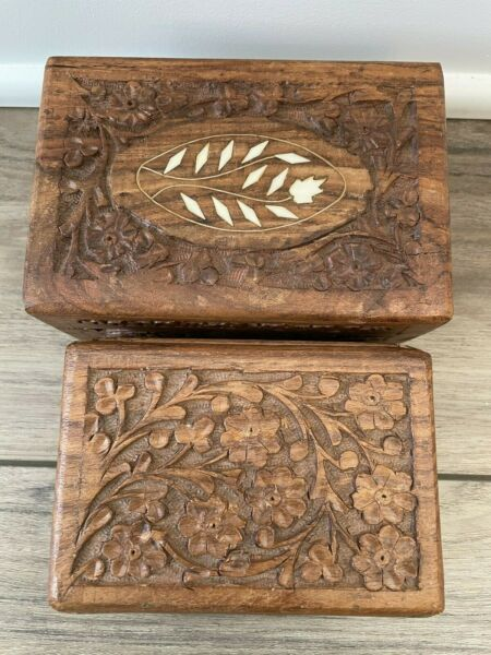 Set of 2 Vintage Carved Wooden Boxes Flowers Made in India