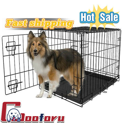 🐶Vibrant Life🐶Single Door Folding Dog Crate with Divider Muti size 🇺🇸 Stock) $30.97