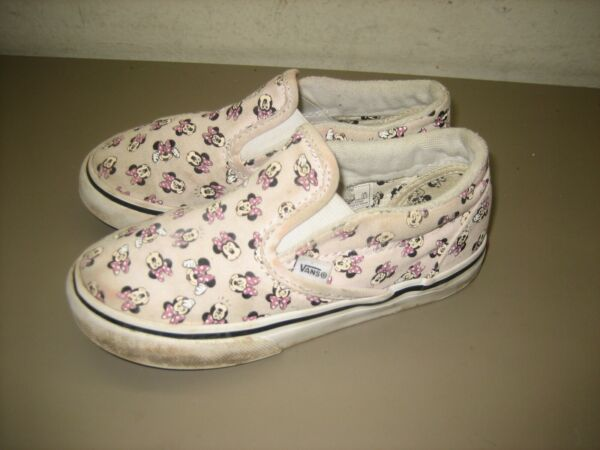 Toddler Girls Pink Minnie Mouse Bows Disney Vans Slip On 721356 Size Toddler 10 $20.00