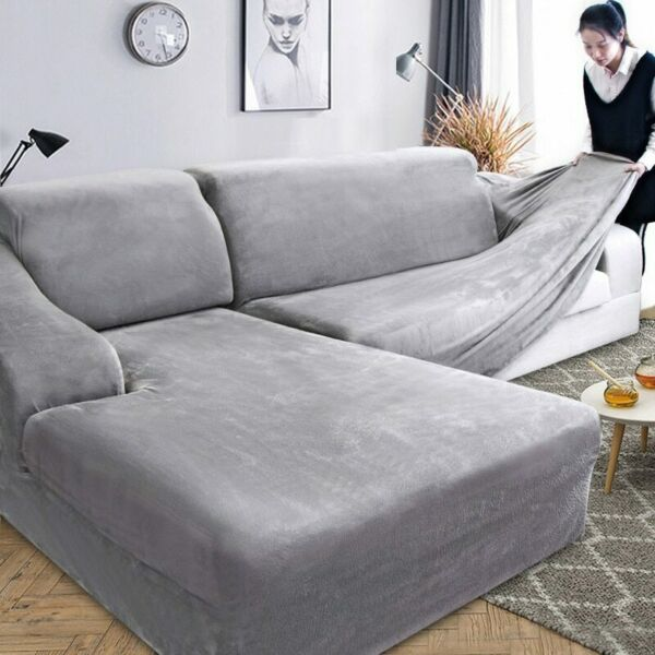 Velvet Plush L Shaped Sofa Cover Elastic Couch Slipcover Chaise Longue Corner $35.15
