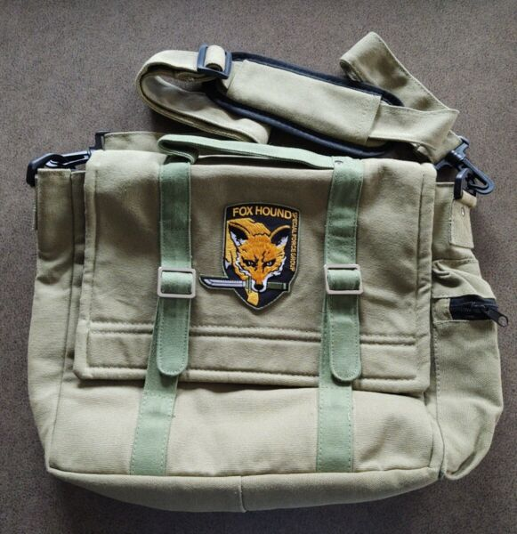 Metal Gear Solid Fox Hound Messenger Bag Satchel MGS Solid Snake OD Duck Canvas $49.00