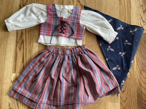 American Girl Pleasant Company Kirsten Swedish Dirndl Outfit Kerchief Skirt Top