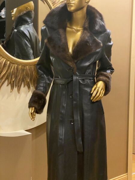 Gucci vng leather coat tranch with mink