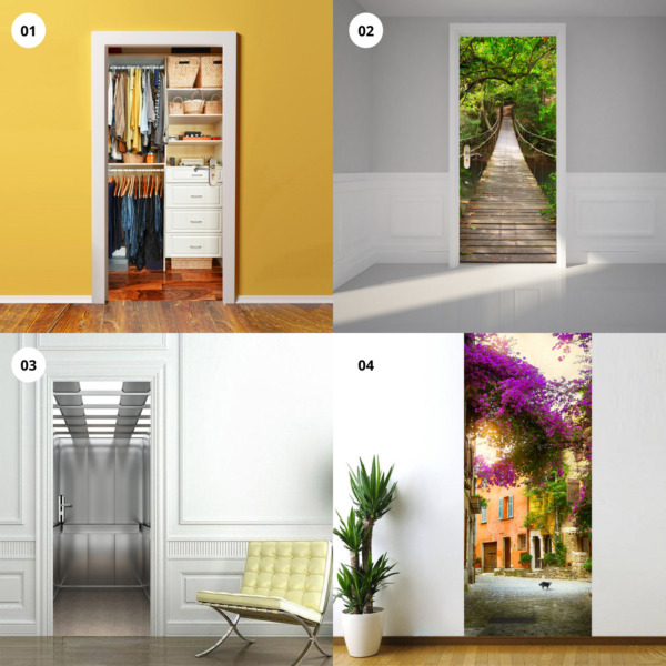 3D Door Mural Wall Stickers Art Decal Self Adhesive Removable Living Room Decor $21.95