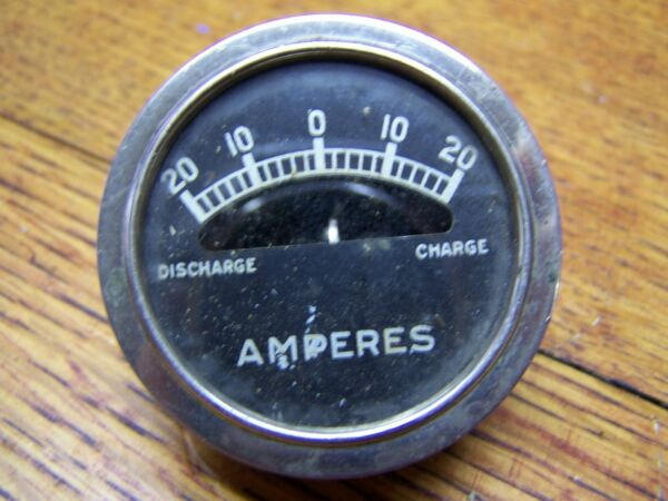 Vintage Panel Amperes Meter 20 amp discharge and charge Chrome and Brass old car