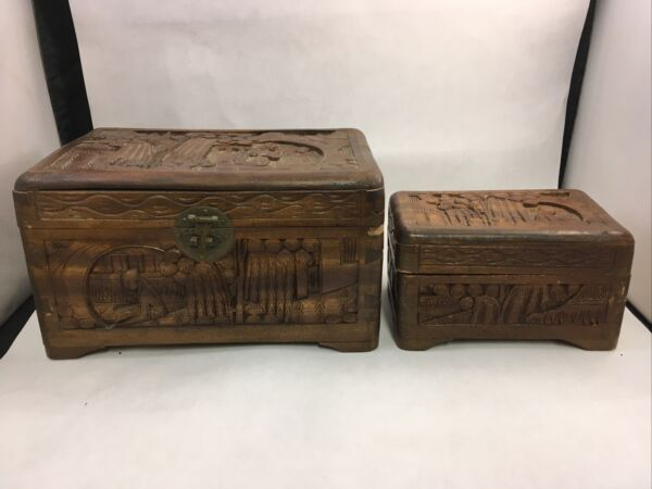 Carved Wooden Boxes Asian Design Set of 2 Trinket Jewelry Box Case Storage