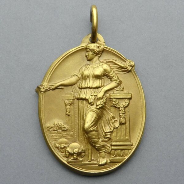French Medal. Woman Female Marianne Victory. Art Nouveau. Large Pendant.