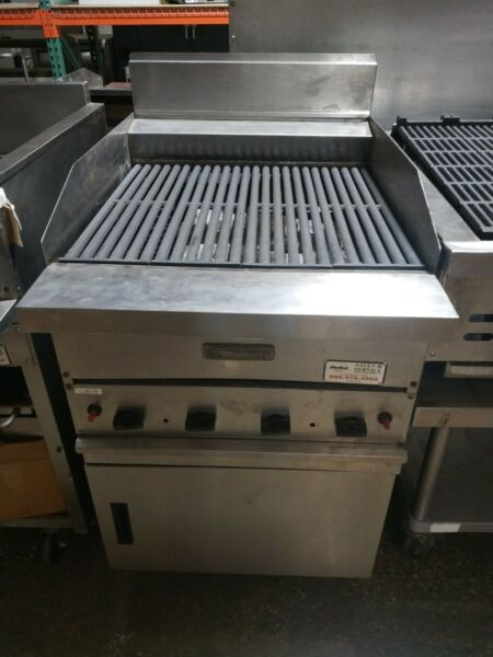 Garland G24 BRL Natural Gas 24quot; Ceramic Briquette Charbroiler amp; Stand Used
