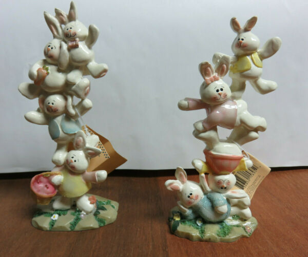 Bunny Rabbit Figurines Crazy Mountain for Carlton Cards Decoration Easter $23.69