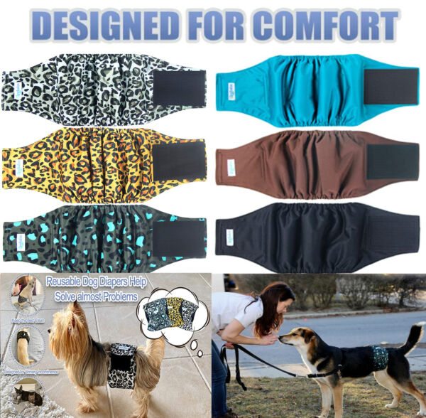 Reusable Male Dog Belly Bands Set Leak Proof Diaper Dogs Absorbent Pad Wraps 3pc $17.99
