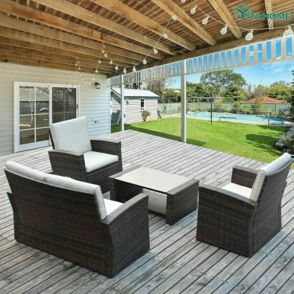 4pcs Outdoor Patio Sofa Set PE Rattan Wicker Sectional Furniture Outside Couch $118.60