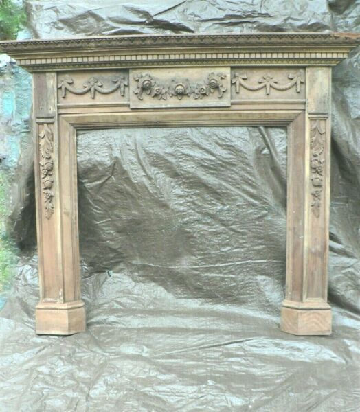 Antique Lavish Hand carved Wood Fireplace Mantle Surround Local Pickup Only $800.00