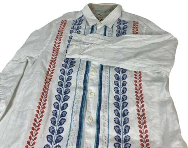 Tommy Bahama Relax Mens White 100% Linen Floral Button Long Sleeve Shirt 2XL $35.00
