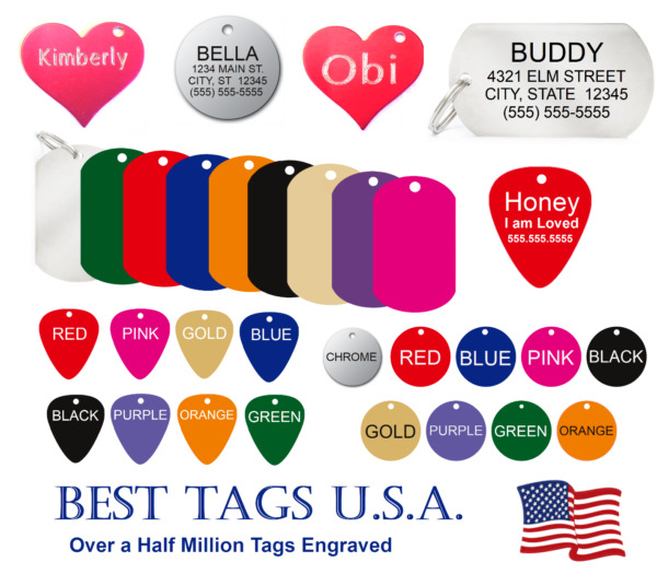 Custom Engraved Pet ID Tags Dogs Cats Brass Made in USA Tags from $2.39 Shipped $2.39