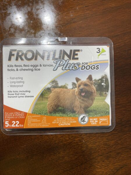 FRONTLINE PLUS FLEA AND TICK CONTROL FOR DOGS 5 22 LB 3 MONTH SUPPLY NEW LOOK $27.49