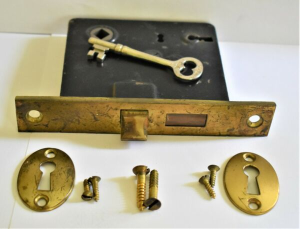 Antique Corbin Mortise Privacy Door Locks with Keys amp; Brass Faceplates Works