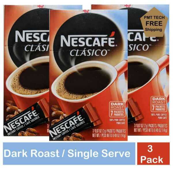 Nescafe Clasico Instant Coffee 7 ct 3 Packages EXP Jun 2022 $15.99