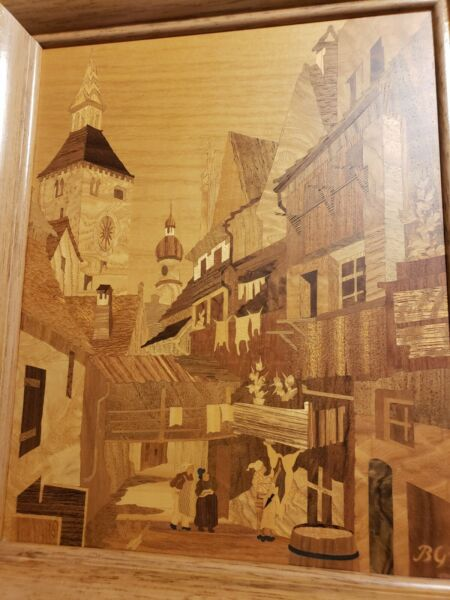Buchschmid amp; Gretaux German Marquetry Framed Wood Inlay #x27;Witches Quarters#x27;