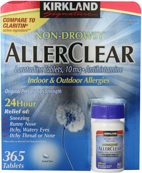 Kirkland Signature Non Drowsy Allerclear Tablets 10mg 365 ct EXP 10 21 $10.99