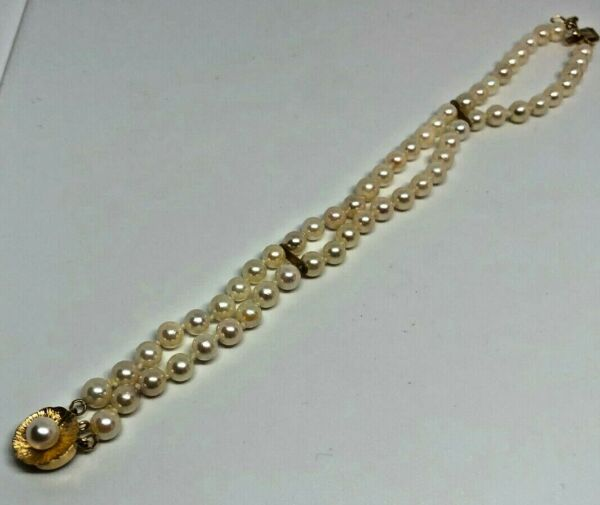 14K GOLD DOUBLE STAND PEARL BRACELET $450.00