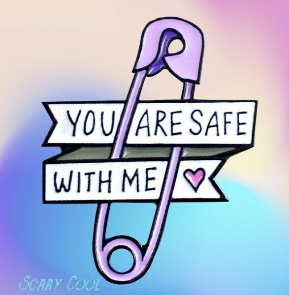New You Are Safe with Me Safety Pin Gothic Punk Brooch Retro Pin $7.95