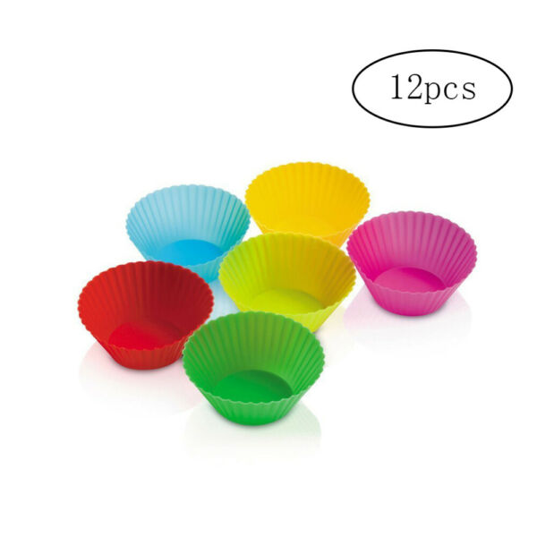 12 Count Silicone Baking Cups Non stick Reusable Cupcake Liners Muffin Molds New