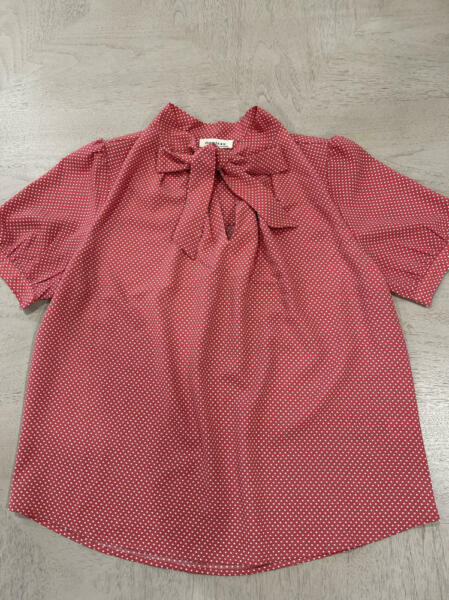 Monteau Womens Pink Polka Dots Blouse Tie Front Large z2 $14.99