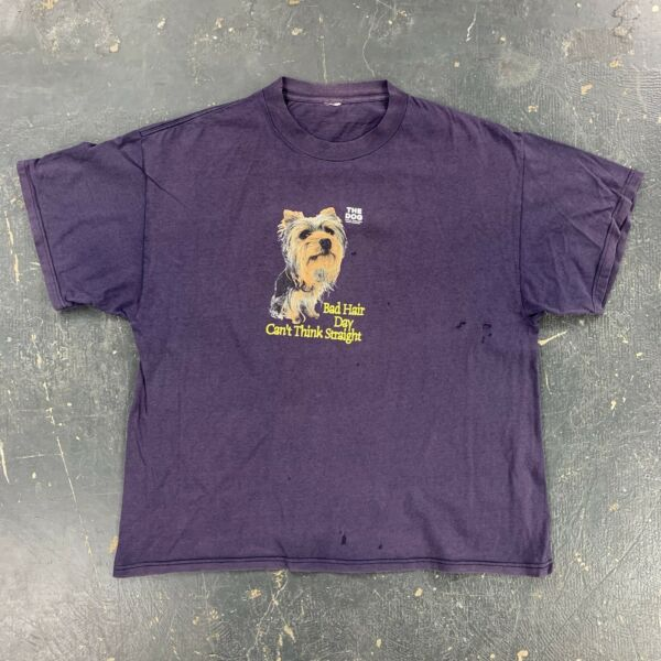 The Dog Bad Hair Day T Shirt Distressed Blue Faded Funny $20.00