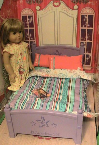 American Girl Floral Bed Collection Purple Bed and Bedding One Pillow $46.00