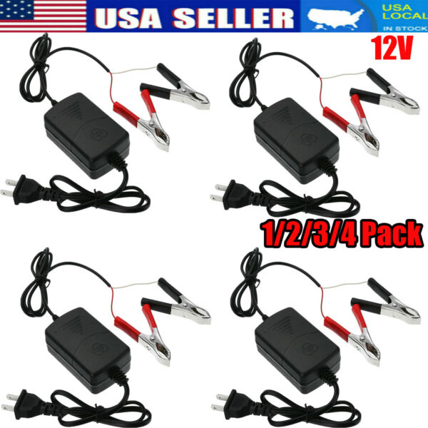 1 4x Car Trickle Battery Charger Maintainer Auto 12V RV For Truck Motorcycle ATV $20.27